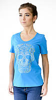"""Футболка женская с аппликцией """"Skull"""" из блесток.Модный глубокий вырез,усиленный плечевой шов"""