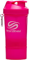Шейкер SmartShake Neon 400 мл + 2 контейнера темно-розовый/dark pink