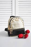Женский городской рюкзак золотого цвета 8267