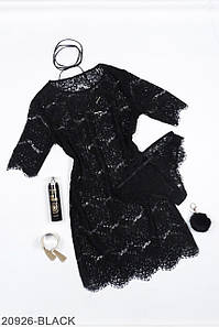Женский кружевной комплект: пеньюар и трусики, черный
