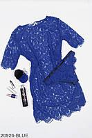 Женский кружевной комплект: пеньюар и трусики, синий