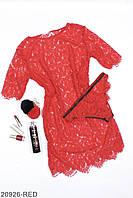 Женский кружевной комплект: пеньюар и трусики, красный
