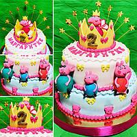 Детский торт с мастикой Свинка пеппа
