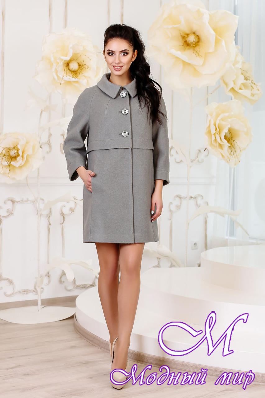 Женское оливковое демисезонное пальто (р. 44-54) арт. 1015 Тон 76