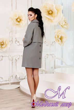 Женское оливковое демисезонное пальто (р. 44-54) арт. 1015 Тон 76, фото 2