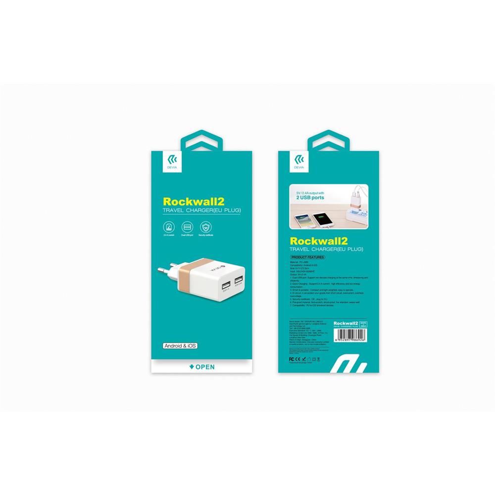 Сетевое зарядное устройство Devia RockWall Dual USB 3.5A White/Gold