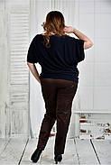 Женская легкая блуза больших размеров 0429 цвет синий размер 42-74, фото 3