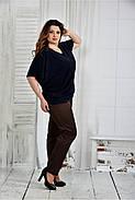 Женская легкая блуза больших размеров 0429 цвет синий размер 42-74, фото 2