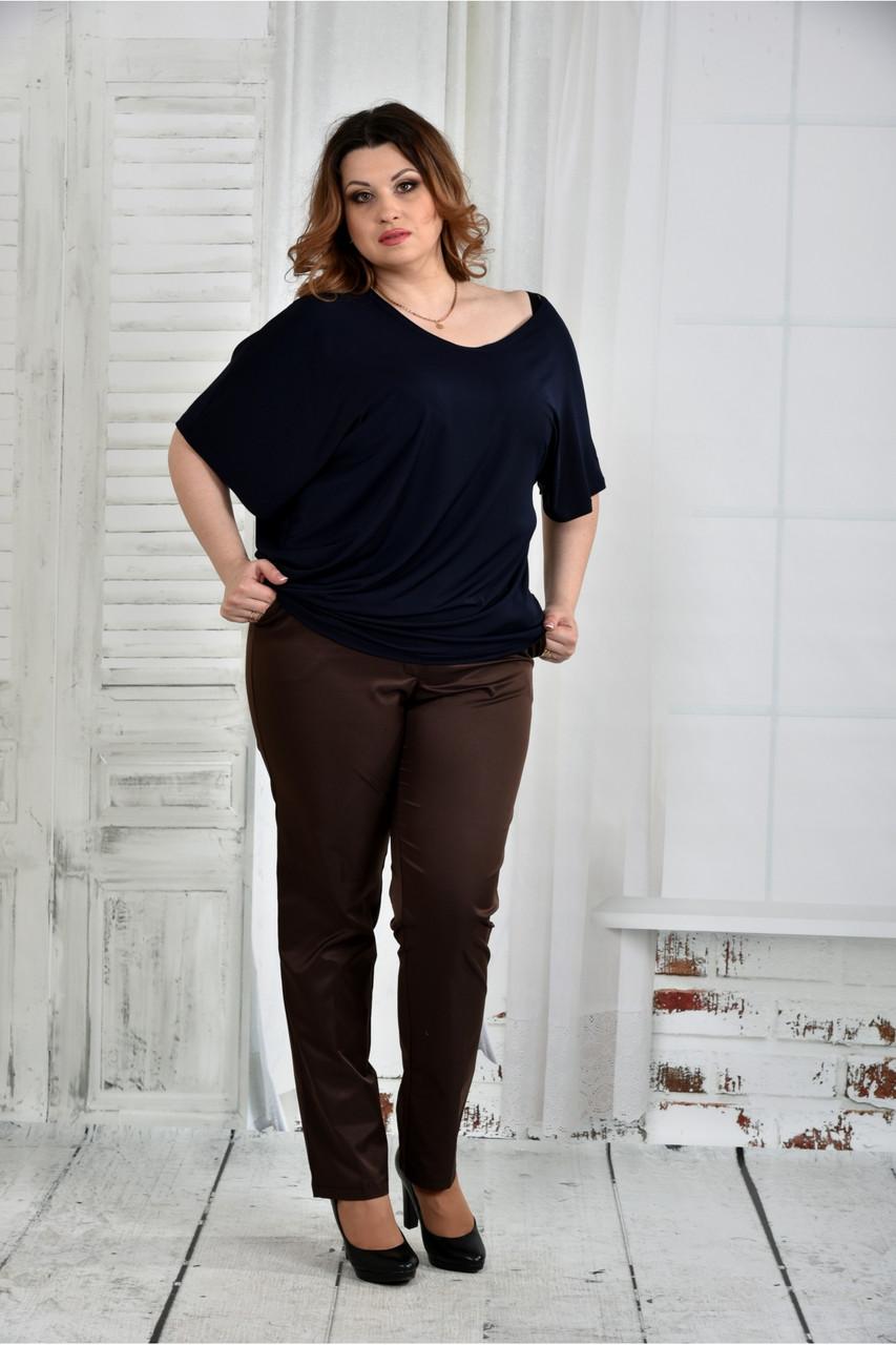 Женская легкая блуза больших размеров 0429 цвет синий размер 42-74