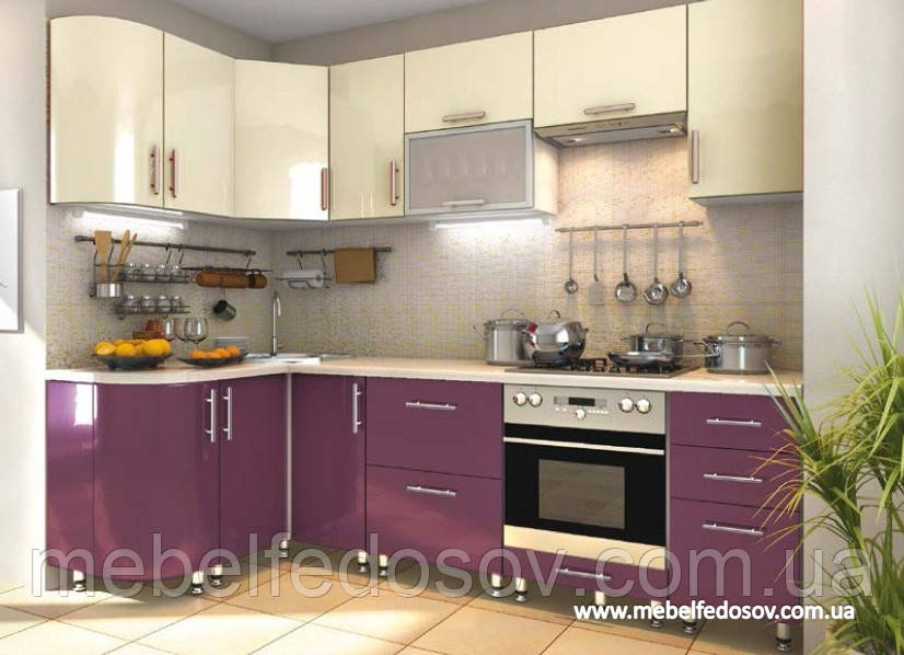 Кухня Hihg Gloss / Хьюго Глосс (Мебель стар) пурпур+ваниль м/п