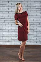 Женское велюровое платье бордо