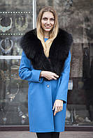 Меховой воротник  из песца черный bluefox blue fox big fur collar in black , фото 1