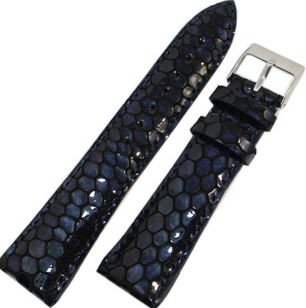 Женский кожаный ремешок для часов под кожу питона Mykhail Ikhtyar 22-156 синий