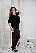 Женская легкая блуза больших размеров 0429 цвет черный размер 42-74, фото 2
