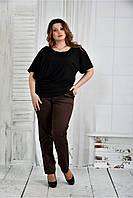 Женская легкая блуза больших размеров 0429 цвет черный размер 42-74