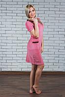 Женское велюровое платье пудра