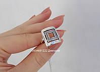 Кольцо из серебра Квадратное с узором