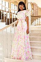Нежное Роскошное Платье в Пол Розовое с Цветами S-XL