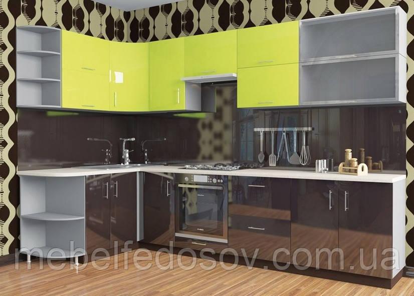 Кухня Hihg Gloss / Хьюго Глосс (Мебель стар) лайм+палисандр