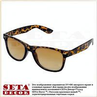 """Очки солнцезащитные """"Wayfarer"""" с леопардовой оправой, коричневые"""