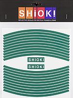 Наклейка светоотражающая Schiok! на обод велосипеда зеленая