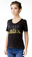"""Футболка женская с аппликцией """"Kiev""""  из блесток.Модный глубокий вырез,усиленный плечевой шов"""