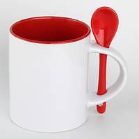 Чашка для сублимации 330мл с ложкой  (красная)