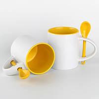 Чашка для сублимации 330мл с ложкой  (желтая)