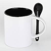 Чашка для сублимации 330мл с ложкой  (черная)
