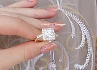 Кольцо из серебра Квадратное с камнями