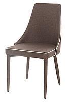 Стул металлический М-03 спинка, сиденье, ножки обтянуты коричневой тканью с кантом белого цвета, стиль модерн