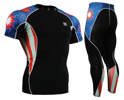 Комплект компрессионная футболка Fixgear и компрессионные штаны C2S-B37+P2L-B37