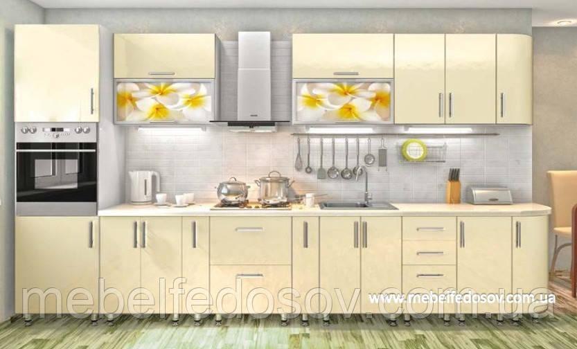 Кухня Hihg Gloss / Хьюго Глосс (Мебель стар) ваниль+фотопечать м/п