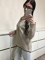 Стильная блузка с цепочкой и кулоном, бежевая