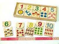 Деревянные головоломка Пазлы половинки для счета Считаем до 10