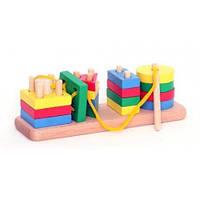 Деревянная игрушка Пирамидки-счет геометрия(4в1)+ШНУРОК
