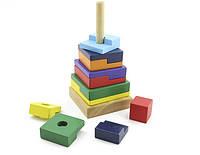 """Деревянная игрушка  для развития детей Пирамидка """"Квадрат"""""""