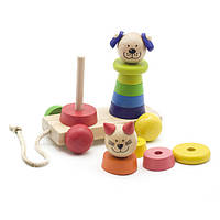 Детская  деревянная игрушка  для развития  Пирамидка-каталка Кот и собака