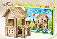 Деревянный констуктор для развития детей Домик с верандой