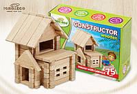 Деревянный констуктор для развития детей Домик с гаражем