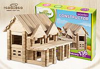 Деревянный констуктор для развития детей домик с балконом