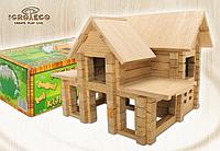 Деревянный констуктор для развития детей Домик с мансардой