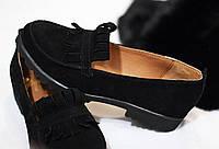 Стильные женские комфортные туфли- лоферы от TroisRois  из натурального турецкого замша 2.5, без, Натуральная кожа, Черный