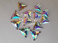 Стразы пришивные Lux Треугольник 22мм. Crystal AB
