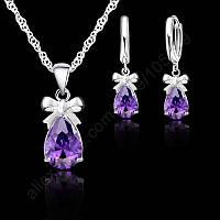 Ювелирный комплект Фиолетовый аметист Бантики серебро, фото 1