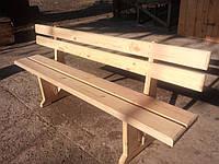 Лавочка (скамья) деревянная со спинкой, без покрытия, древесина сосны