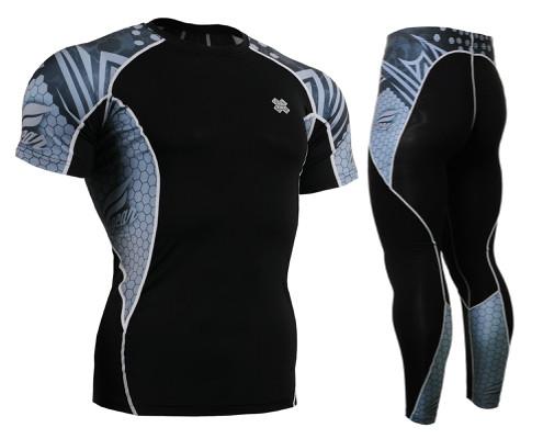 Комплект компрессионная футболка Fixgear и компрессионные штаны C2S-B41+P2L-B41