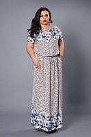 Легкое платье 504-2, размеры 50,52 красные ромашки, фото 1