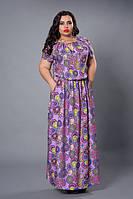 Легкое платье 504-3, размеры 50,52,54,56,сиреневые круги, фото 1