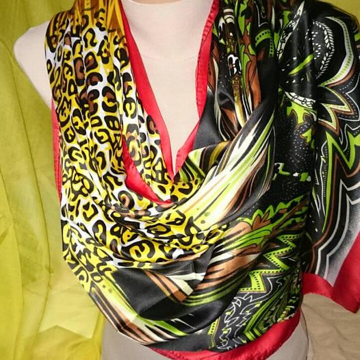 Палантин женский шёлковый леопард